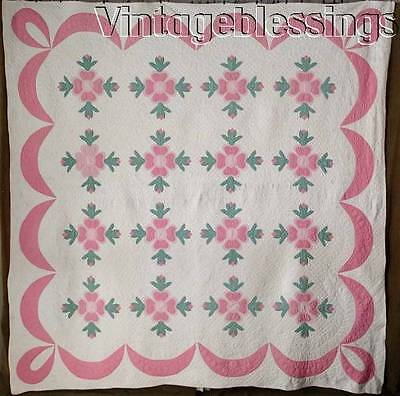 "Beautifully Quilted! VINTAGE 30-40s Rose of Sharon Pink Green QUILT 84x84"" Swags"