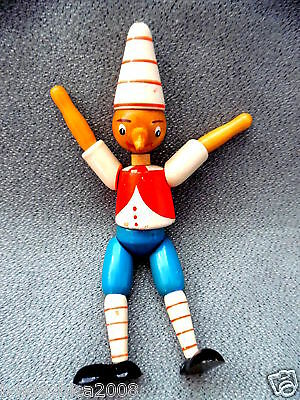 Vintage PINOCCHIO Wooden Toy Figurine Articulated Jointed (7 INCHES)