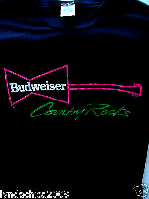 VINTAGE Budweiser COUNTRY ROCKS Shirt (Size L)