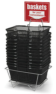 12 Black Wire Mesh Tote Retail Store Shopping Baskets w/ Stand & Sign
