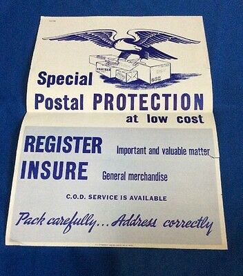 """Vintage - """"Special Postal Protection Register and Insure"""" poster dated 1951"""