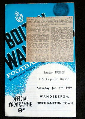 Bolton Wanderers v Northampton Town  round 3  fa cup    4-1-1969 & press cutting