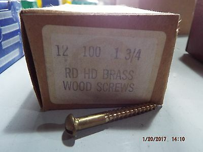 Brass Round Head Slotted Wood Screws #12 x 1-3/4