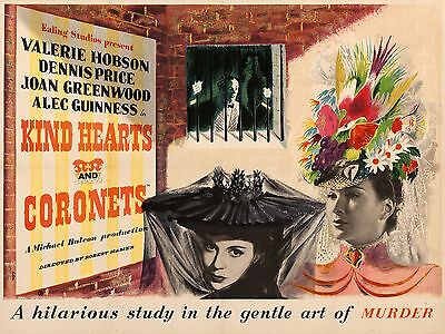 """Kind Hearts and Coronets 16"""" x 12"""" Reproduction Movie Poster Photograph"""