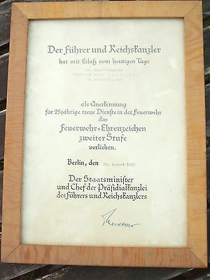 WWII GERMAN WEHRMACHT Fire Department Decoration Document 25 Years Service RARE