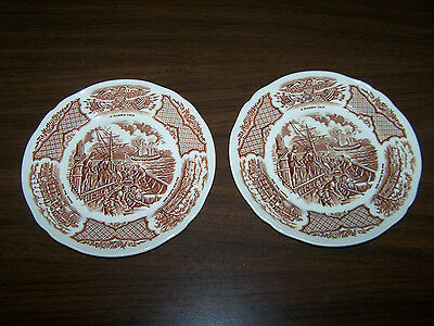 2 Fair Winds Plates 7 x 7 Alfred Meakin Staffordshire England Historcal Scene's