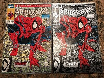 SPIDER-MAN #1 (1990) 2-book lot   Green & Silver McFarlane NM or Better