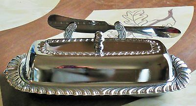 Beautiful Vintage Irvinware Chrome Butter Dish With Glass Insert And Knife