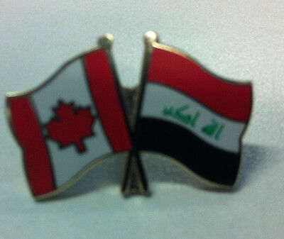 Canada - Iraq Country Flag Brass Gold Plated Friendship Pin Lapel Badge New