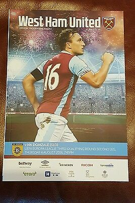 WEST HAM v NK DOMZALE EUROPA LEAGUE PROGRAMME 2016/17 FIRST AT OLYMPIC STADIUM