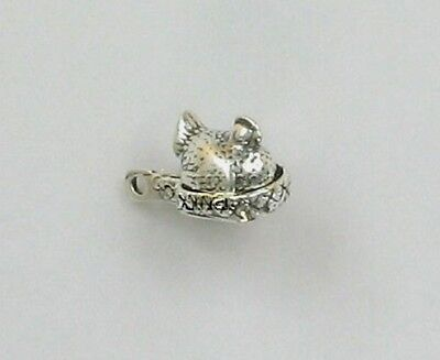 925 Sterling Silver Chicken on a Nest Charm, Movable, Animal & Birds Theme