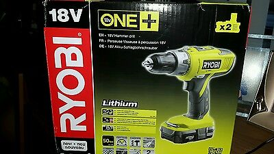 Ryobi One+ 18 V Hammer Drill With 2 Batteries And Charger