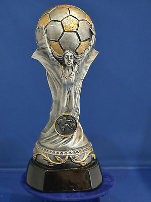 World Cup Style Football Trophy Silver & Gold