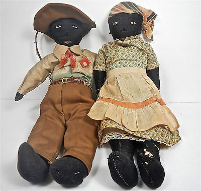 Rare Primitive Antique Pair Of Black Cloth Dolls Folk Art Country Toys Vintage