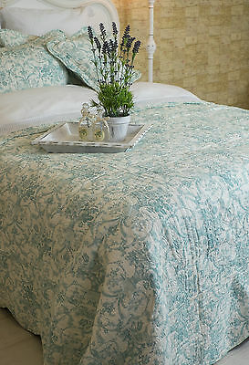 King Size Exquisite Duck Egg Blue Toile De Jouy Quilt 100% Cotton French Style