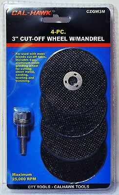 """4 Pc 3"""" inch metal cut off wheel disc with mandrel for Die Grinder 1/32"""" thick"""