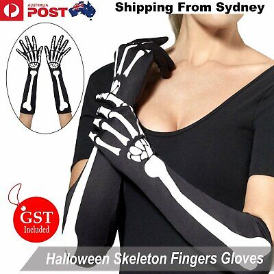 Skeleton Gloves Fingers Skull Women Halloween Party Fancy Dress Costume Black