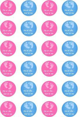 24x Precut Baby Shower Gender Reveal Mixed Feet Rice Paper Cup Cake