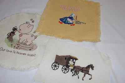 Vintage Embroidered Cross Stitch Lot of 3 Decoration/Advertising Pieces/Linens