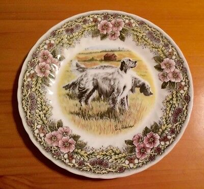Ceramic Ray Hutchins HUNTING DOGS Irish Setter Spaniels Plate Made in England #1