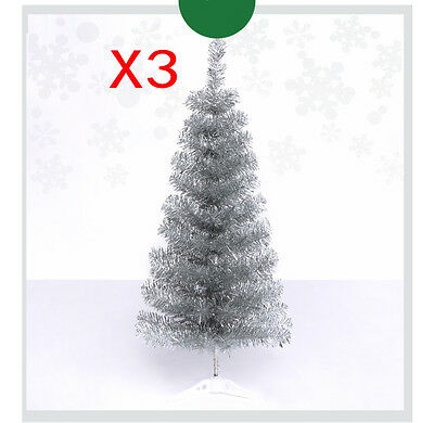 * 3X Xmas Christmas Celebrate Gift Height 90cm Silver Christmas Tree Decoration