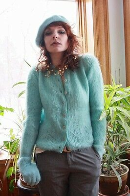 VINTAGE MOHAIR CARDIGAN & ANGORA HAT and MITTENS
