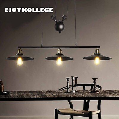 Industrial Chandelier Hanging Cord 3 Heads Ceiling Kitchen Table Pendant Light
