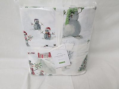 Pottery Barn SNOWMAN King Sheet set NEW