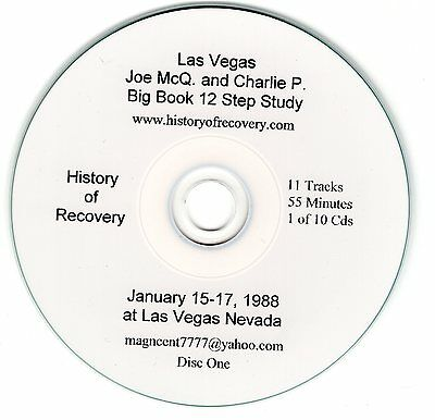 JOE AND CHARLIE 12 STEP BIG BOOK OF ALCOHOLICS ANONYMOUS Study10 CDs +Worksheets