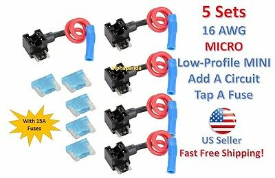 5x Car Truck Circuit Micro Mini Fuse Tap Adapter Holder For 2A-15A Blade Fuse JS