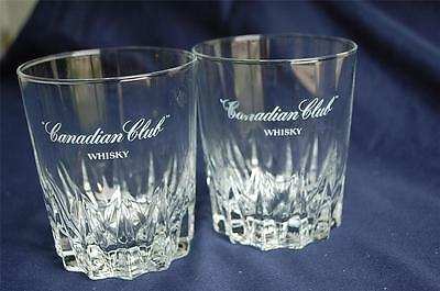 2 Canadian Club Whiskey Speared Design Base Rocks Glasses