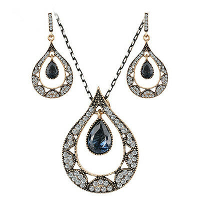 Teardrop Hurrem style necklace and earrings with CZ women's fashion jewelry sets
