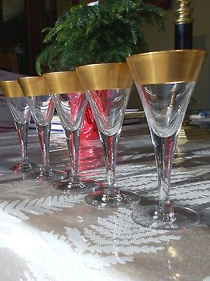 Vintage Elegant Stemware Wide Gold Band Beautiful Toast Glasses Tiffin Style