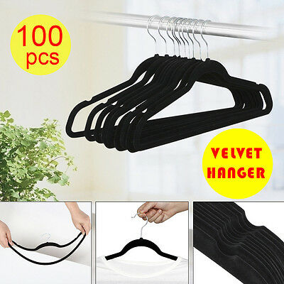 100P Flocked Non Slip Velvet Black Clothes Hangers Suit/Shirt/Pants Hangers Set