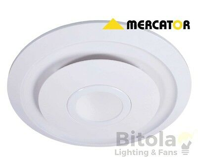 NEW MERCATOR EMELINE 245mm 10w LED LIGHT ROUND BATHROOM EXHAUST FAN WHITE