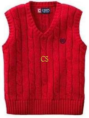 NWT $32-Boys Chaps Cable Knit Red Christmas Holiday Sweater Vest-sz 4, 5 & 18/20