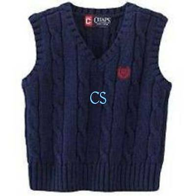 NWT-Boys Chaps Cable Knit Blue Cristmas Holiday Sweater Vest- 4, 5, 6, 14/16, 20
