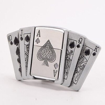 Zinc Alloy Mens Removable Poker Pattern Belt Buckle With Refillable Lighter