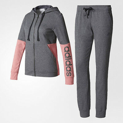 Adidas Marker Womens Pink Grey Hoodie Sports Top Bottoms Running Tracksuit
