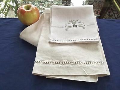 2 Antique Italian Embroidered Linen Show Bath Towels Unused 19x36 Face 15x21