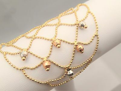 AK signed 14K Solid Yellow Gold Micro Bead Ball Chain Necklace Spiderweb Mesh