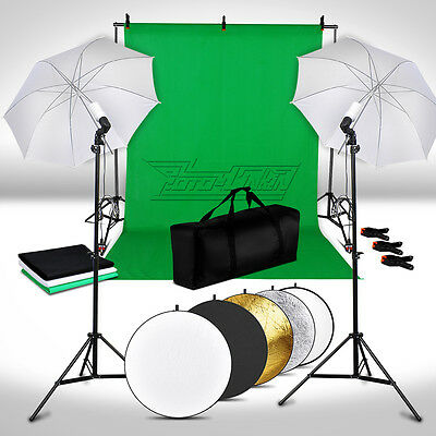 Photo Lighting Kit 5 in 1 Reflector Soft Umbrella 3xBackdrop Background Stand UK