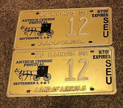 2009 Illinois Cheese Festival License Plate Matching Pair #12 Great Shape
