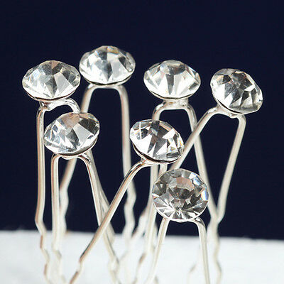 20pcs Crystal Diamond Diamante Wedding Bridal Party Prom Hair Pins Clips sET