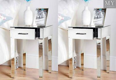 (PAIR) ZOE Mirrored Bedside Lamp Table with Single Drawer