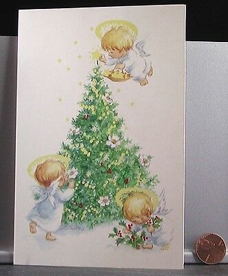 Angels Little Children Trimming Tree Holly Star - Christmas Greeting Card UNUSED