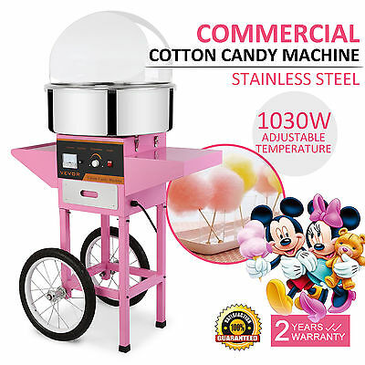 VEVOR Electric Commercial Cotton Candy Machine / Floss Maker Pink W/Cart Cover