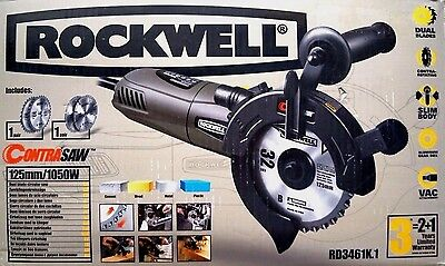 Dual Blade Circular Saw 1050W 125Mm With Two Extra Blades - Rockwell Contrasaw