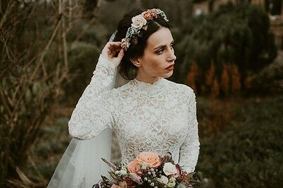 Vintage wedding dress, hairband and veil