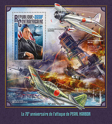 Central African Rep 2016 MNH WWII WW2 Pearl Harbor 1v S/S Ships Aviation Stamps